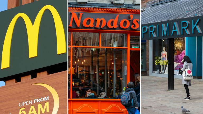 McDonald's, Nando's and Primark are closing their UK branches