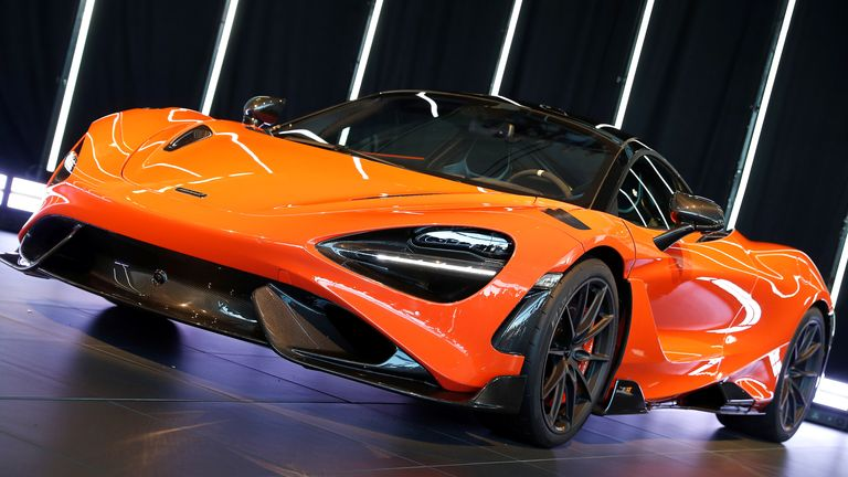 The McLaren 765LT is seen at its launch at the McLaren headquarters in Woking, Britain, March 3, 2020