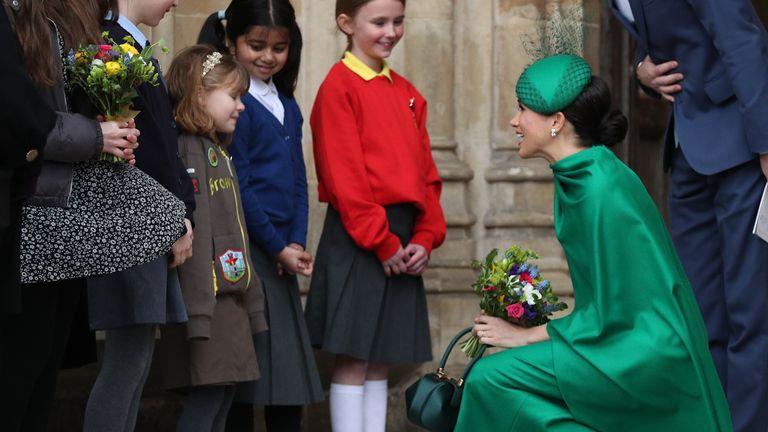 Meghan spoke to school children as she left Westminster Abbey