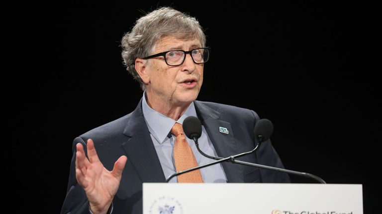 Microsoft founder, Co-Chairman of the Bill & Melinda Gates Foundation, Bill Gates delivers a speech during the conference of Global Fund to Fight HIV, Tuberculosis and Malaria on october 10, 2019, in Lyon, central eastern France. - The Global Fund to Fight AIDS, Tuberculosis and Malaria opened a drive to raise $14 billion to fight a global epidemics but face an uphill battle in the face of donor fatigue