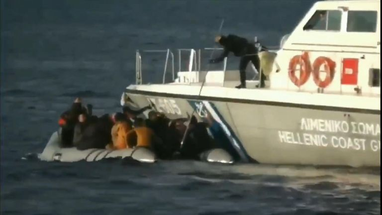Footage given to Sky News by Turkish authorities purports to show the Greek coastguard  shooting at migrants and pushing them away