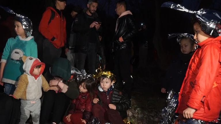Families with young children were amongst those crossing into Greece on rubber dinghies from Turkey on Sunday, after Turkey declared its western borders were open to migrants hoping to head into the European Union.