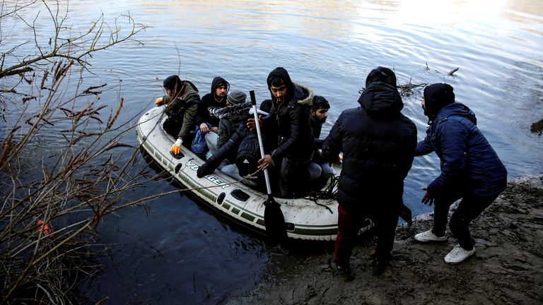 Migrants cross the Evros river to reach Greece, pictured from the Turkish border city of Edirne, Turkey