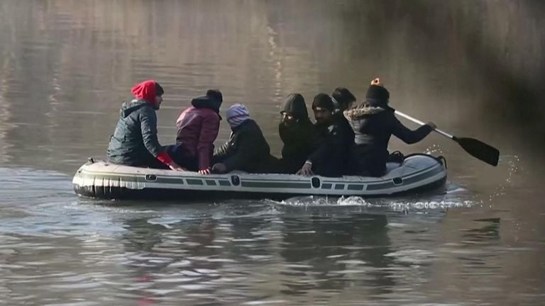 Dozens of migrants squeezed into small inflatable dinghies and waded across the fast-moving waters of the Evros river on Sunday (March 1).