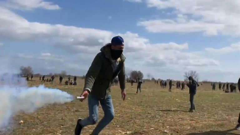 Video shot from the Turkish side of the frontier showed clouds of teargas drifting over the Greek border post of Kastanies.