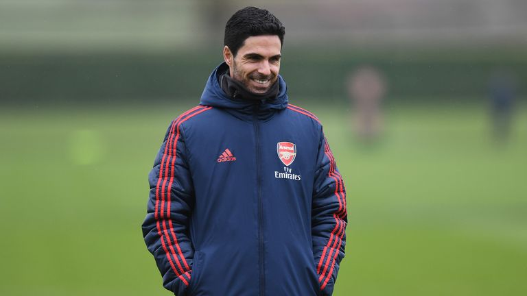 Mikel Arteta pictured at a training session at London Colney on 10 March