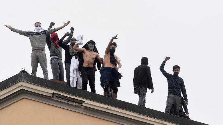 Inmates on the roof of the San Vittore Prison, Milan