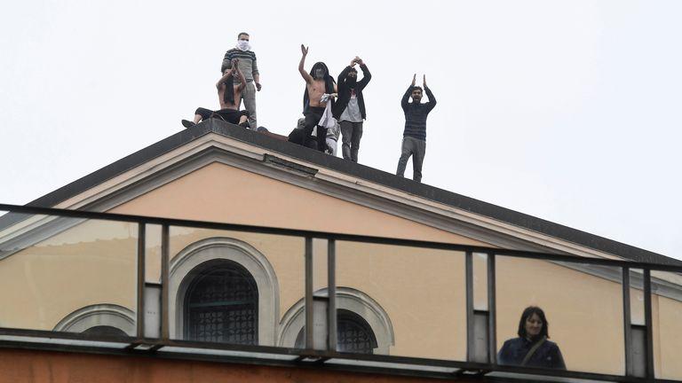 Inmates protest at San Vittore Prison, Milan