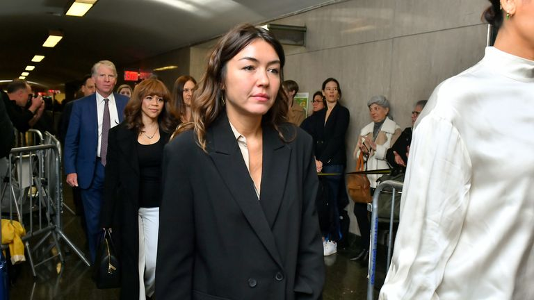 Mimi Haleyi walks into for sentencing of movie mogul Harvey Weinstein on March 11, 2020 in New York City. Haleyi is one of two women who were to give victim impact statements ahead of sentencing for Weinstein, who faces a minimum sentence of 5 years and a maximum of 25 years after being convicted of rape and criminal sexual assault. (Photo by Roy Rochlin/Getty Images)