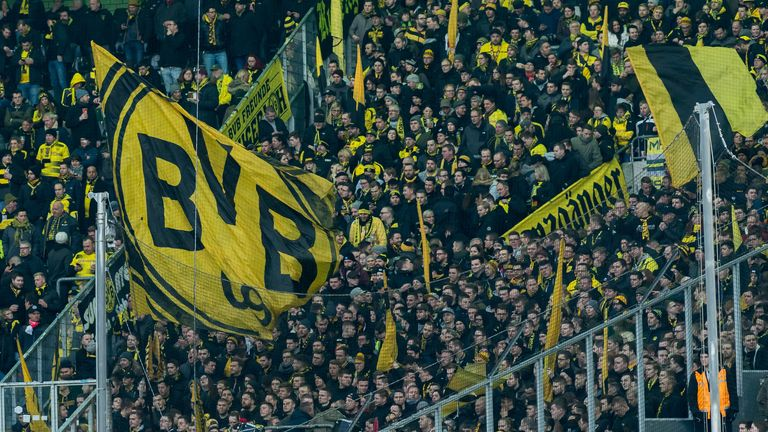 MOENCHENGLADBACH, GERMANY - FEBRUARY 18: Supporters of Borussia Dortmund are seen during the Bundesliga match between Borussia Moenchengladbach and Borussia Dortmund at Borussia-Park on February 18, 2018 in Moenchengladbach, Germany. (Photo by TF-Images/Getty Images)