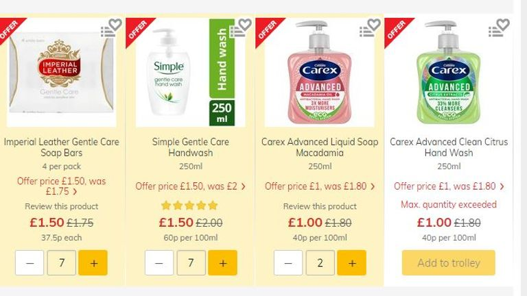 The Morrisons website also prevents customers from buying any more than two bottles of Carex hand wash