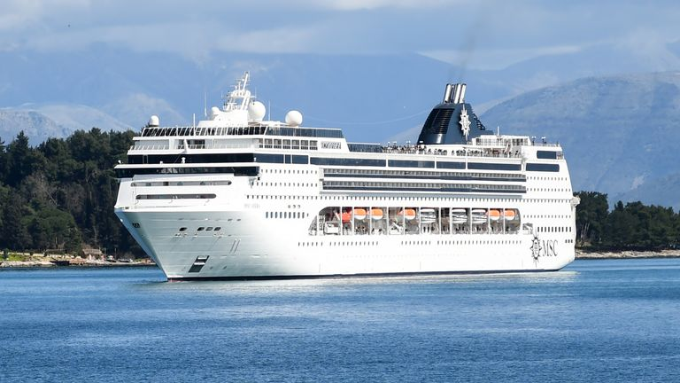 The MSC Opera cruise ship approaches the port of the island of Corfu