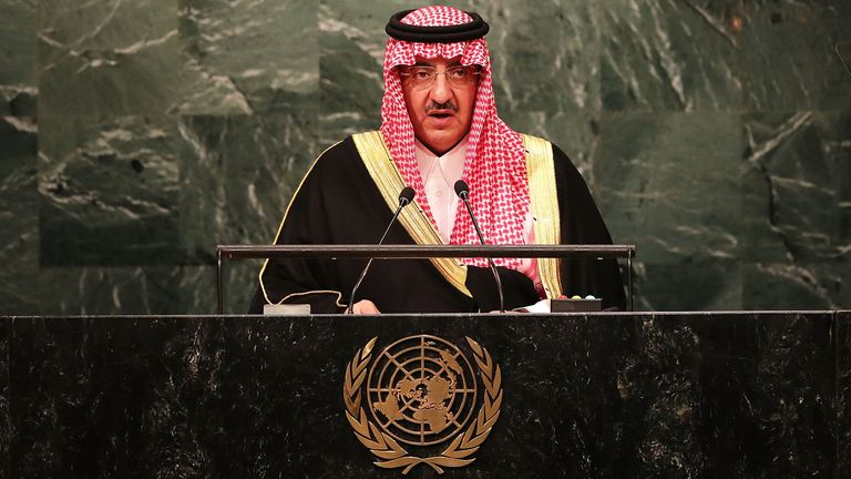 Crown Prince Muhammad bin Nayef of Saudi Arabia addresses the General Assembly at the United Nations on September 21, 2016 in New York City