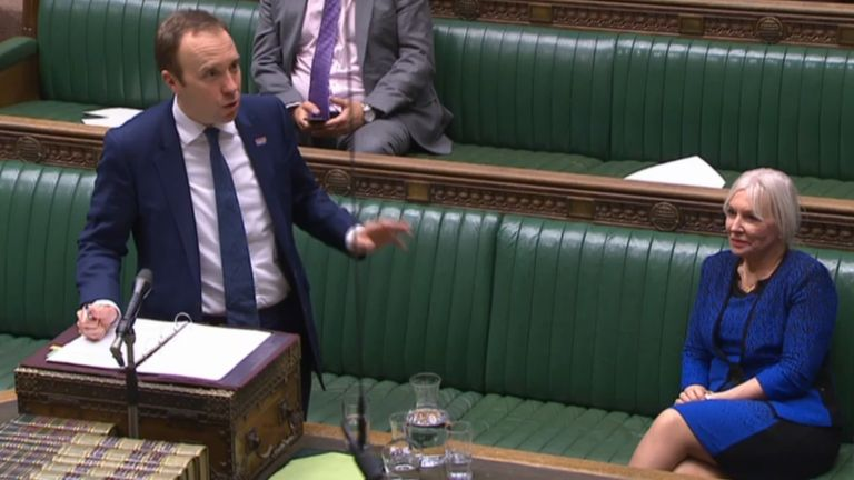 Matt Hancock welcomes Nadine Dorries back to the Commons