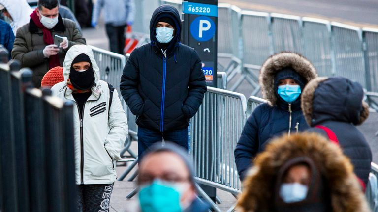 People in New York line up to get a test due to coronavirus outbreak