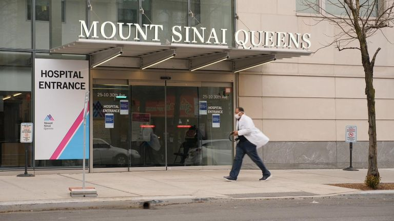Even part of Mount Sinai's waiting area has been turned into a ward