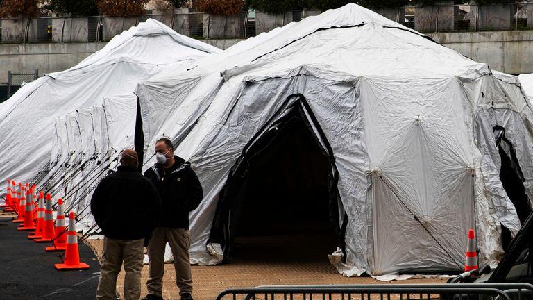 A makeshift morgue outside a New York hospital