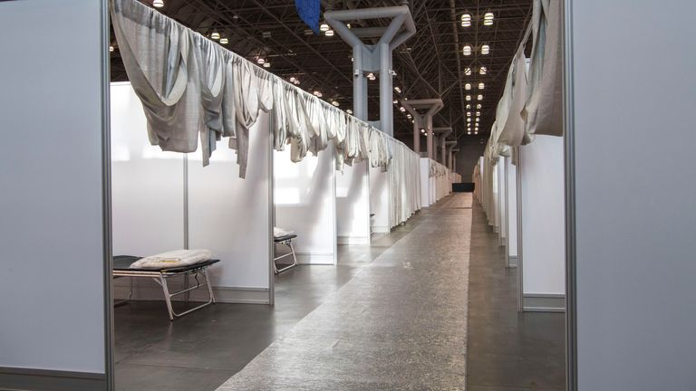 Makeshift hospital rooms at the Jacob Javits convention centre in New York