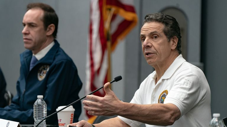 New York Governor Andrew Cuomo speaks during a news conference at the Javits Center, New York