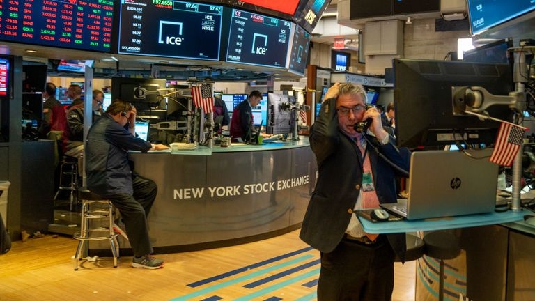 Traders work the floor of the New York Stock Exchange (NYSE) on March 5, 2020 in New York City