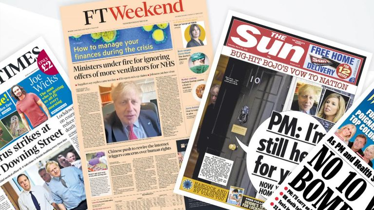 Newspaper fan for front pages on Saturday March 28