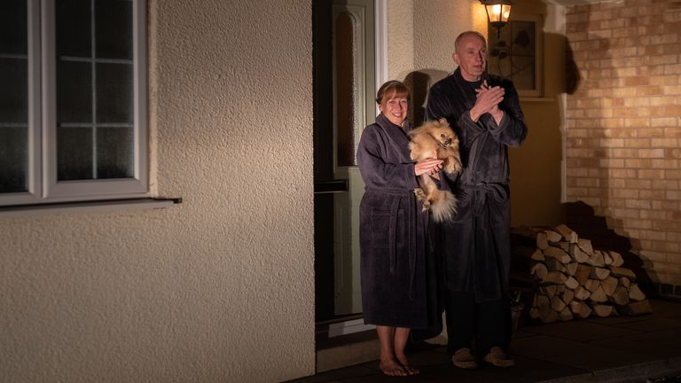 Nick and Karen Giddens and their dog Macy in Leicester