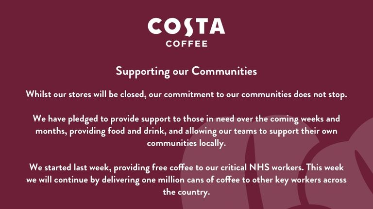 Costa Coffee is giving out free coffee to NHS workers. Pic: Costa Coffee