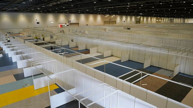 Inside the temporary hospital at Excel in London