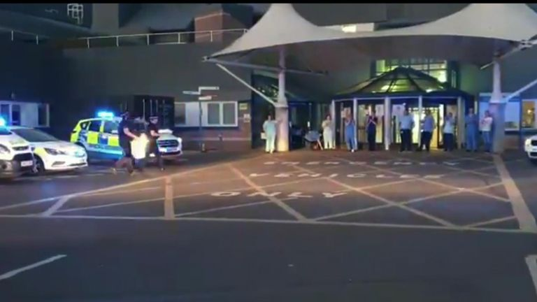 Police on the Isle of Wight gave gifts to NHS staff at St. Mary's hospital