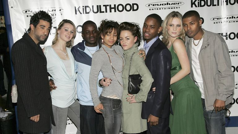 Noel Clarke (right) attends the UK Premiere of Kidulthood with other cast members at the Odeon West End on March 1, 2006 in London