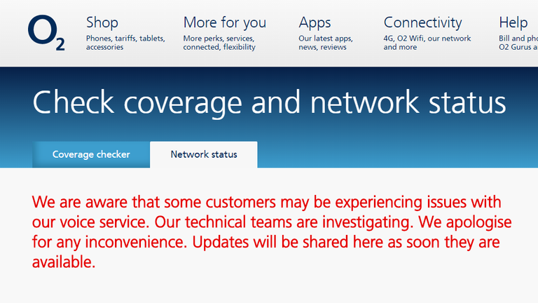 O2 confirmed the network problems on its website