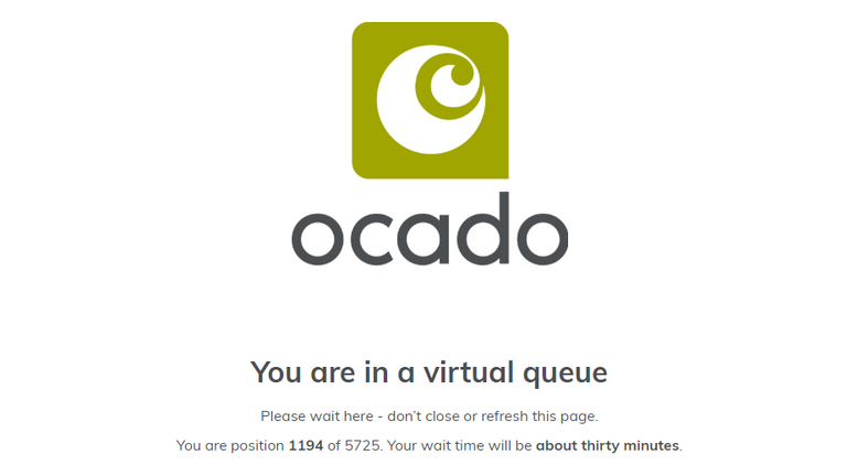 Ocado customers are being put in a virtual queue with wait times up to several hours