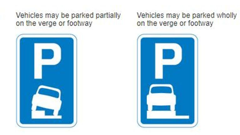London pavement parking signs from the Highway Code Pic: Driver and Vehicle Standards Agency