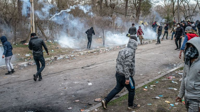 Migrants clash with Greek police on the buffer zone Turkey-Greece border, near Pazarkule crossing gate in Edirne, Turkey, on March 4, 2020