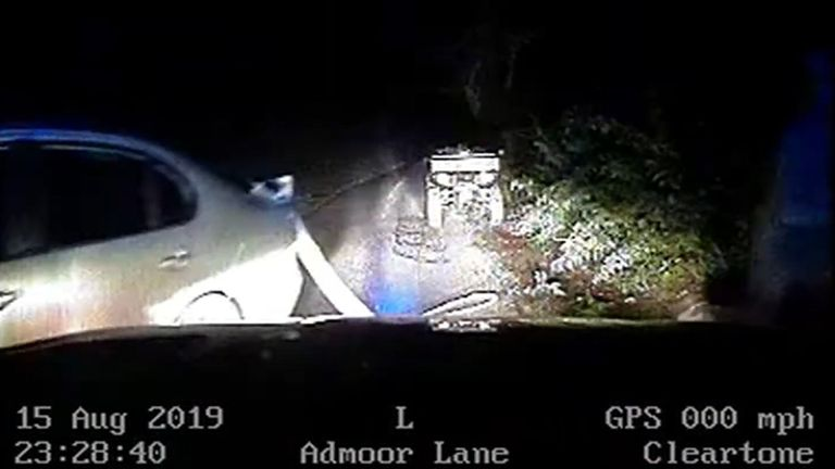 Screengrab taken from video dated 15/08/19 issued by Thames Valley Police of a quad bike which was attached to a Seat car which was stopped by Pc Andrew Harper and Pc Andrew Shaw whilst responding to a burglary in progress near Stanford Dingley in Berkshire. The dash-cam footage is taken from the vehicle in which PC Andrew Harper was travelling on the night of his death, which has been shown to the jury at the Old Bailey, London, during the trial of Henry Long and two teenagers who cannot be nam
