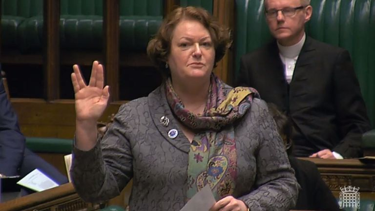 SNP MP Philippa Whitford does a Vulcan salute in the House of Commons, London, during a space debate. PRESS ASSOCIATION Photo. Picture date: Thursday January 14, 2016. See PA story COMMONS Space. Photo credit should read: PA Wire
