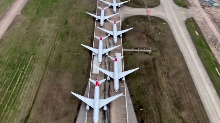 Planes are parked on runways in Tulsa because there is nowhere else to put them