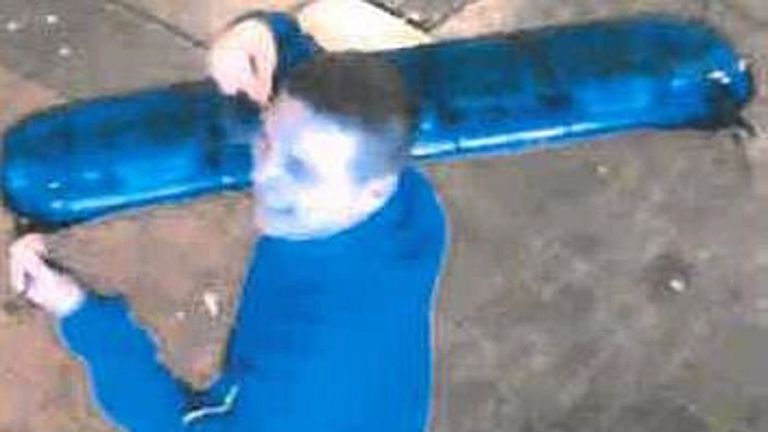 David McBeth, 30, was caught on CCTV with the lights