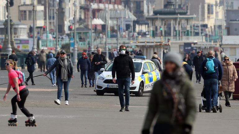 Brighton seafront appeared to busy on Saturday despite the lockdown measures