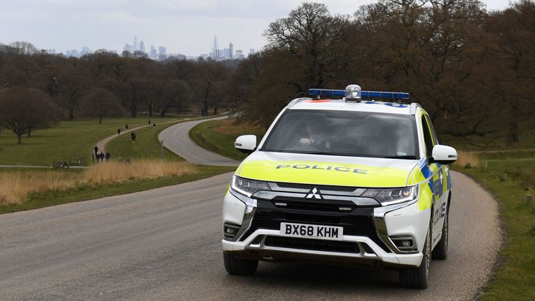 Police patrol Richmond Park as the UK continues in lockdown to help curb the spread of the coronavirus.