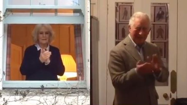 Charles and Camilla joined the nation in the round of applause to thank NHS workers. Pic: Instagram