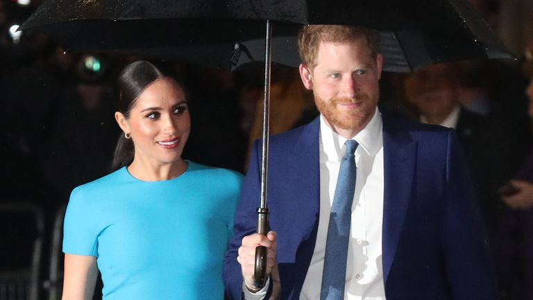 The Duke and Duchess of Sussex arrive at Mansion House in London to attend the Endeavour Fund Awards. PA Photo. Picture date: Thursday March 5, 2020. See PA story ROYAL Sussex. Photo credit should read: Steve Parsons/PA Wire