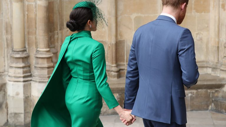 The Duke and Duchess of Sussex arrive for their final official engagement before they quit royal life