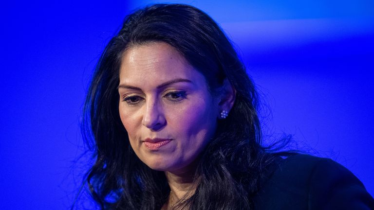 Home Secretary Priti Patel delivers a speech during the National Police Chiefs' Council and Association of Police and Crime Commissioners joint summit