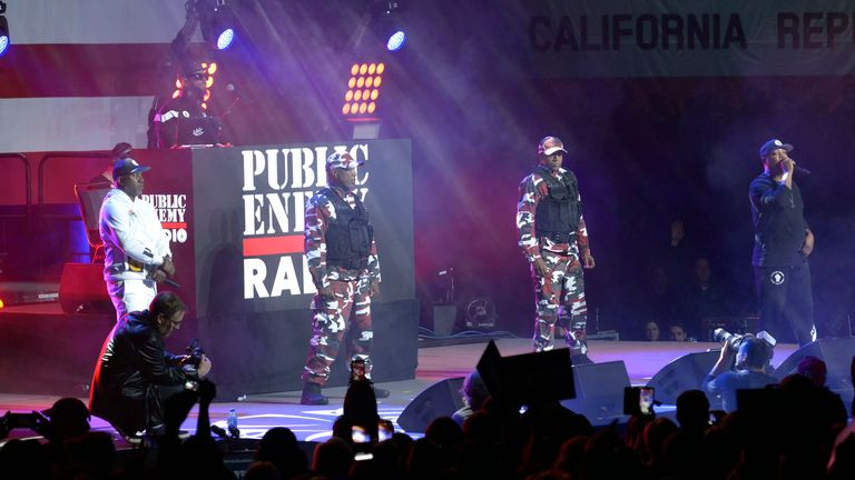 Chuck D performing as Public Enemy Radio at a Bernie Sanders presidential campaign rally on March 1 2020