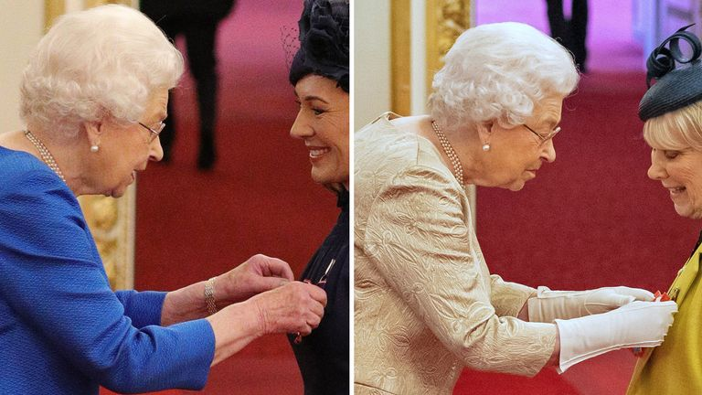 The Queen does not usually wear gloves at investiture