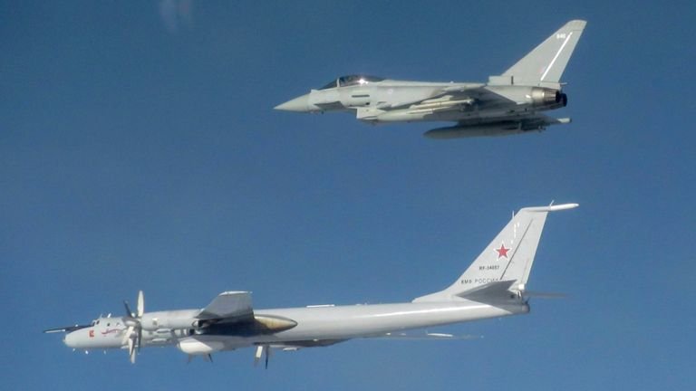 Several RAF jets were used to force the Russian aircraft to change course