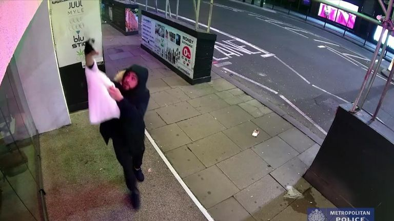 Police  investigating a series of incidents where substances were thrown at a restaurant have released CCTV footage.
