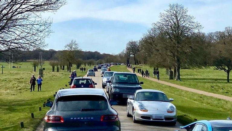 A busy Richmond Park as Londoners were told to social distance due to coronavirus Pic: Twitter/@PeterStuart3