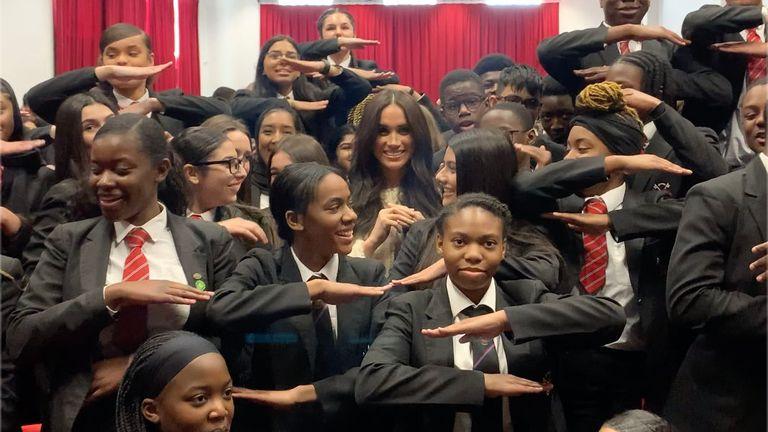 Duchess of Sussex during her surprise visit to the Robert Clack Upper School in Dagenham, Essex